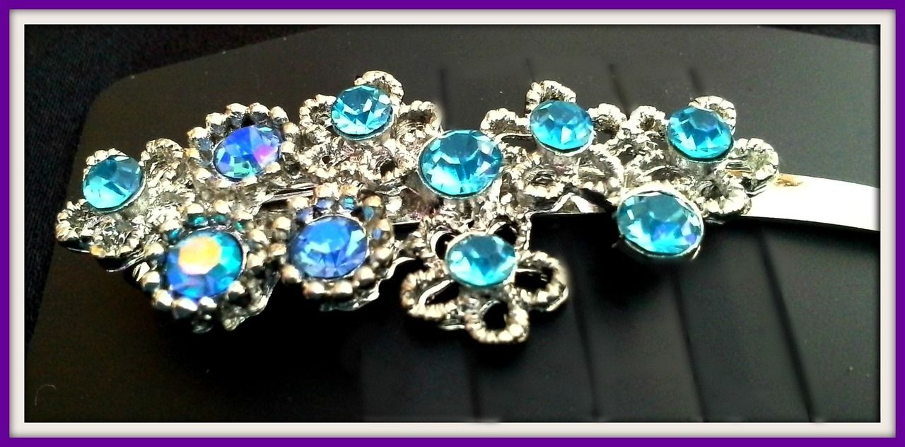 Pair of Silver Tone Hair Pins with Design of Flowers Decorated with Turquoise and Deep Blue Crystals - Crystal Dreams