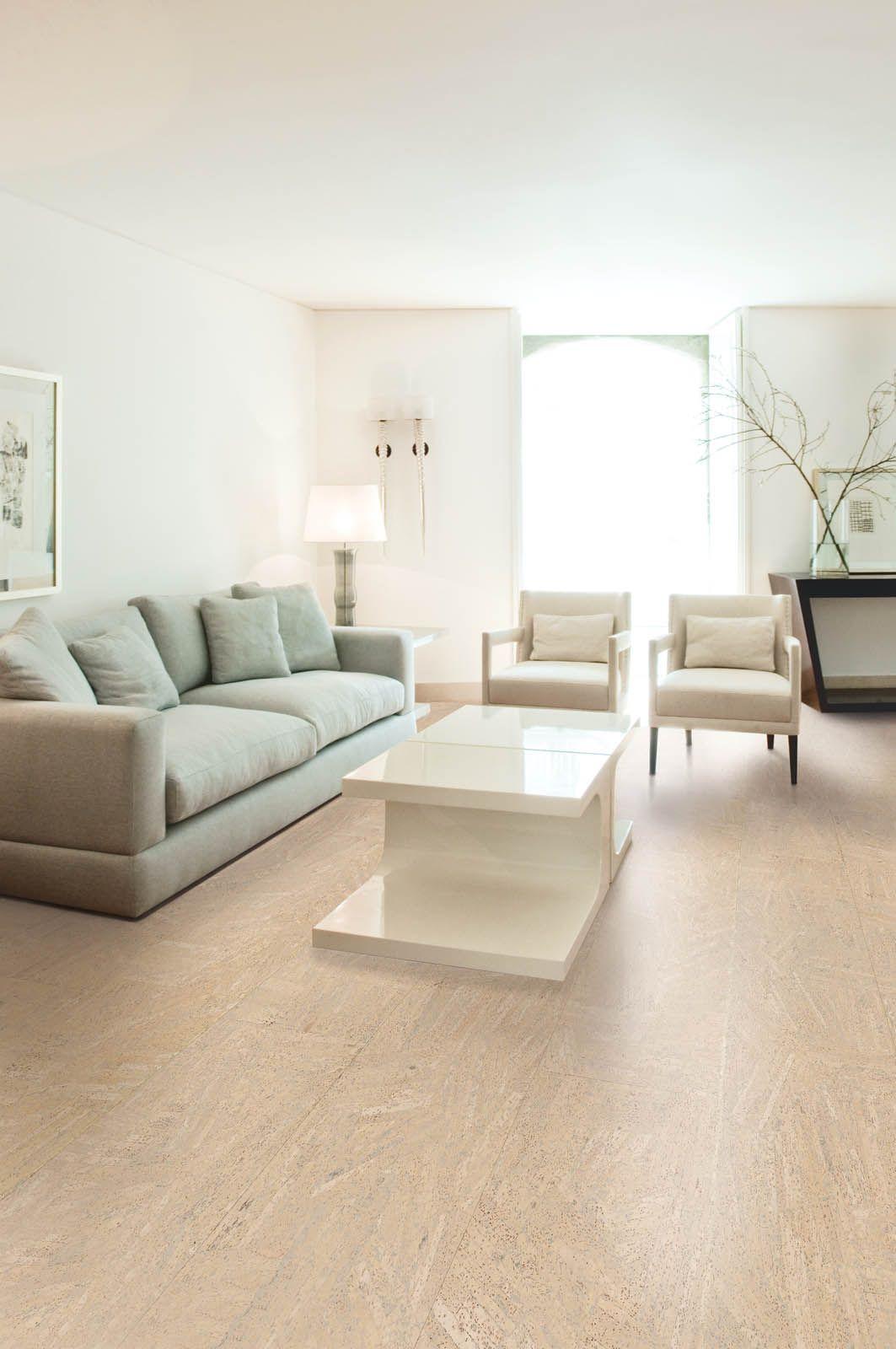 Korkkilattia Ipocork Slice Marble soveltuu kodin kaikkiin kuiviin tiloihin.