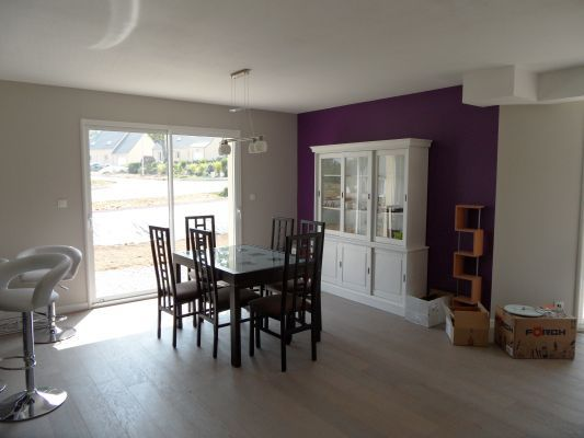Peinture grise et violet pour salon s jour cuisisne for Salon sejour gris