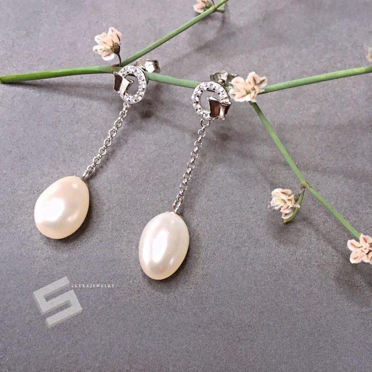 9-10MM AAA Natural Gray Genuine Tahitian Pearl Ear Stud Earrings 18K White Gold