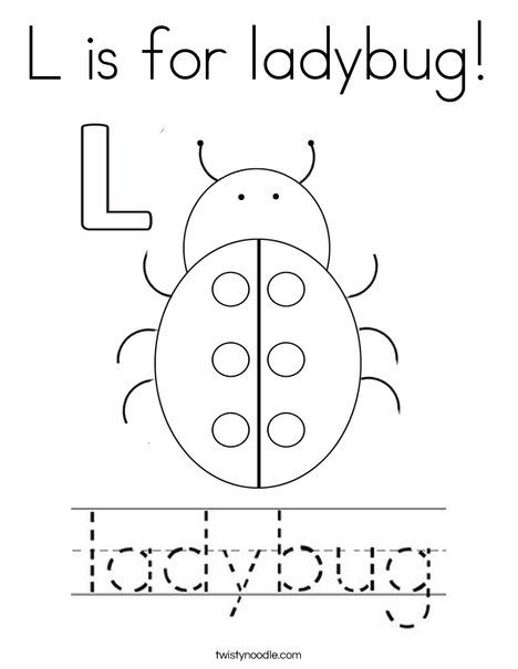 48++ L is for ladybug coloring page free download