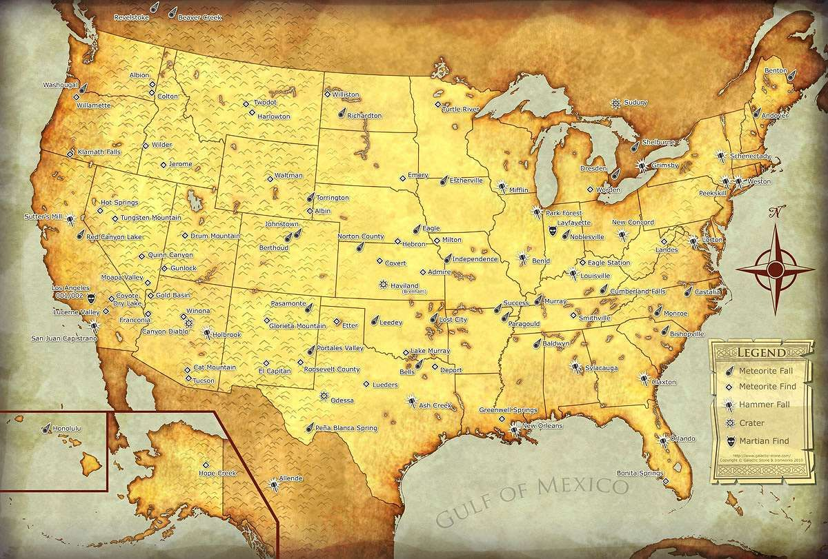 Meteorite map of the USA shows major