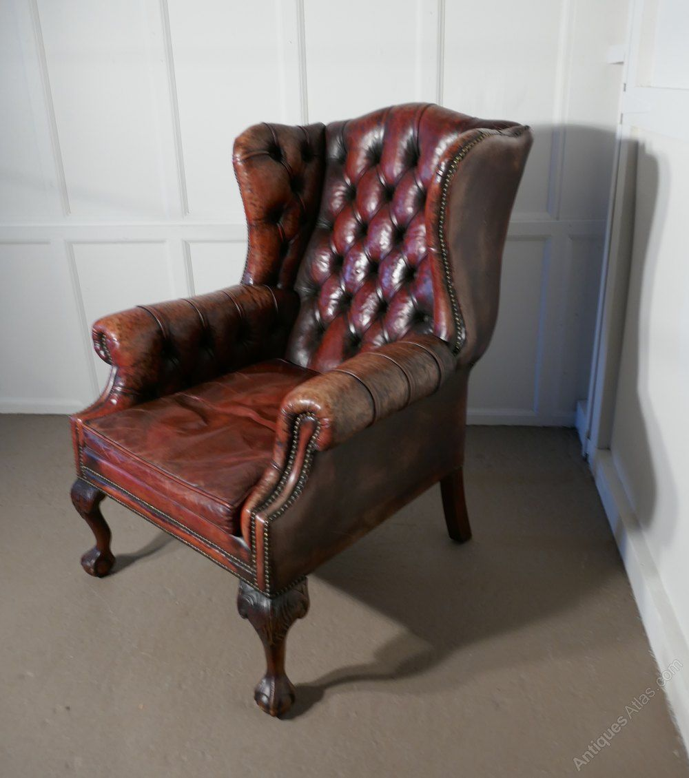 Outstanding Gentlemans Wing Back Leather Library Chair Antiques Atlas Spiritservingveterans Wood Chair Design Ideas Spiritservingveteransorg