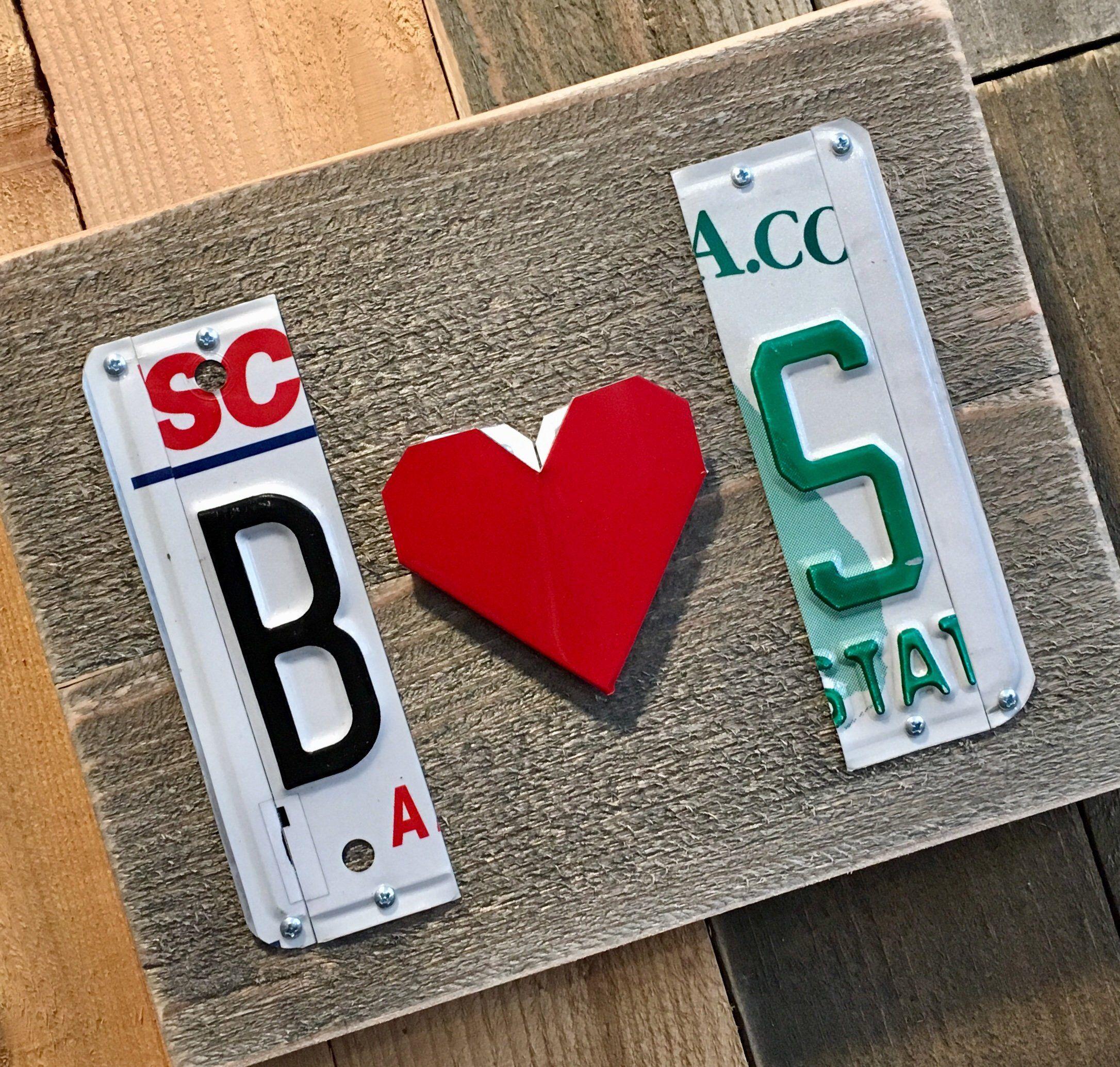 Custom initials heart license plate sign unique