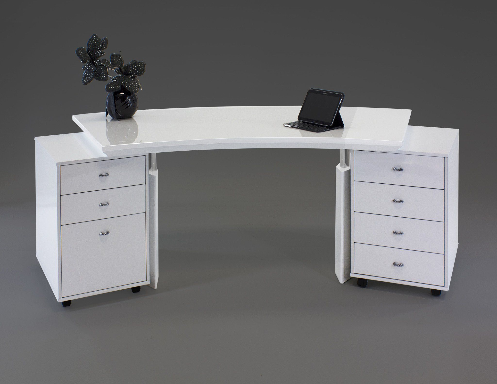 Modern Curved White Lacquer Executive Desk With Two Mobile Files Curved Desk White Lacquer Desk Desk