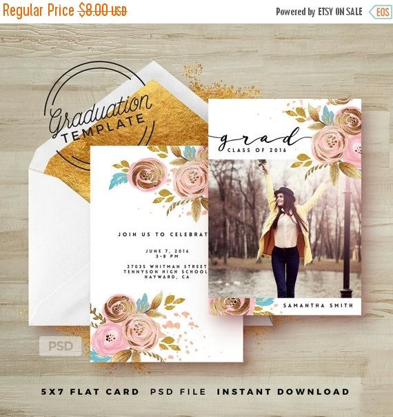 Rose Gold Floral  Graduation Invitation Photoshop Template