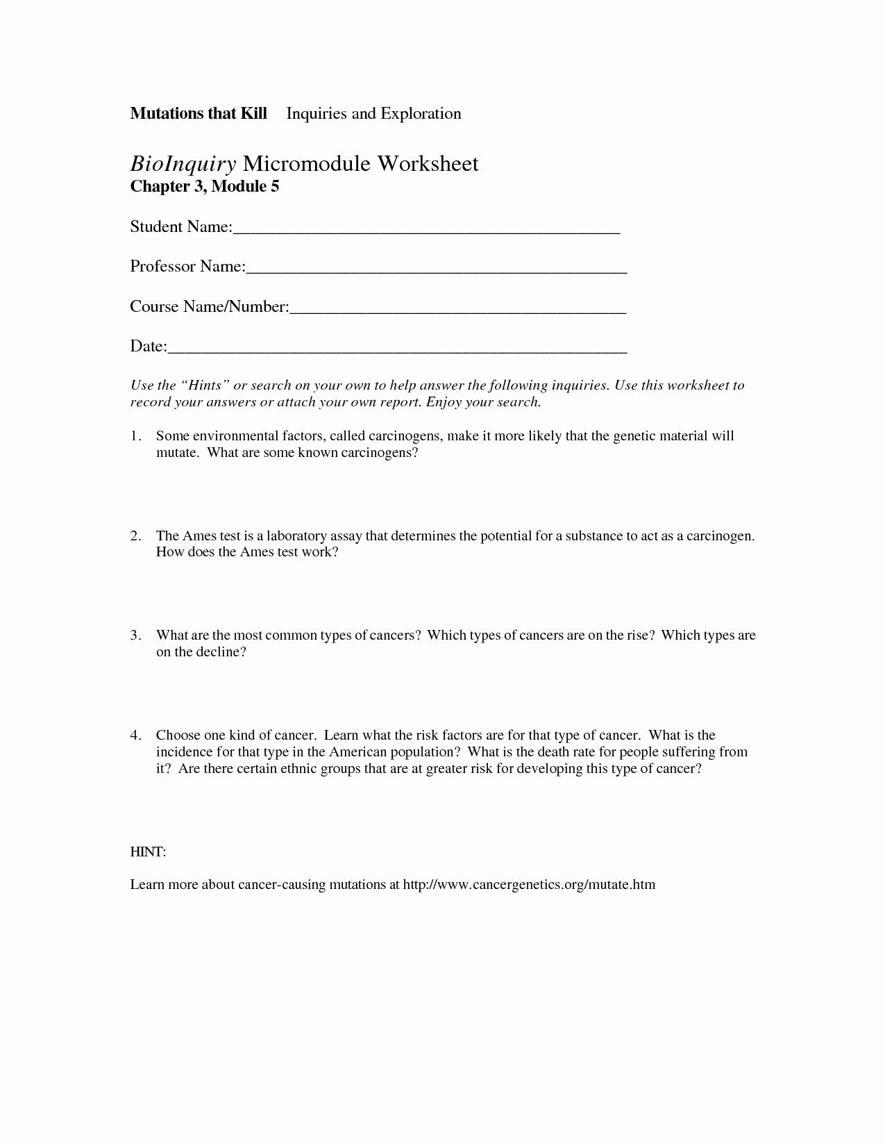 50 Dna Mutations Practice Worksheet Answer In