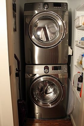 Hallway laundry closet and ironing center a solution for for Washer dryer closet dimensions