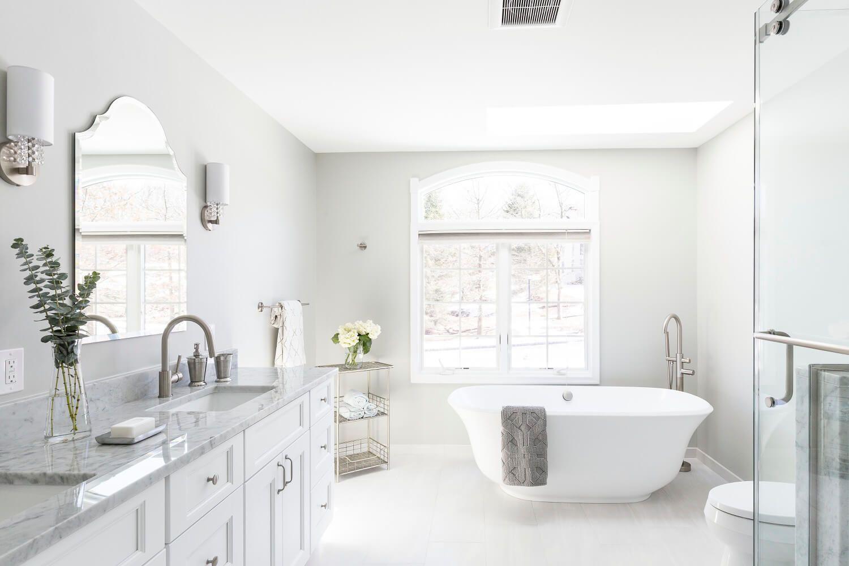 Cedar Grove NJ. Master bathroom (free-standing bathtub, walk-in ...