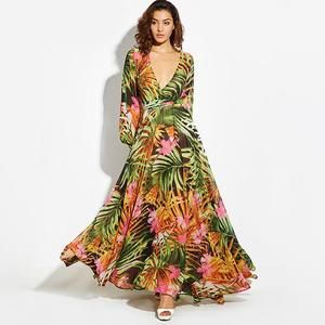 d9e1d0fa98 Boho Summer Long V Neck Lace-Up Floral Print Green Sexy Ladies Bohemian  Stylish Maxi