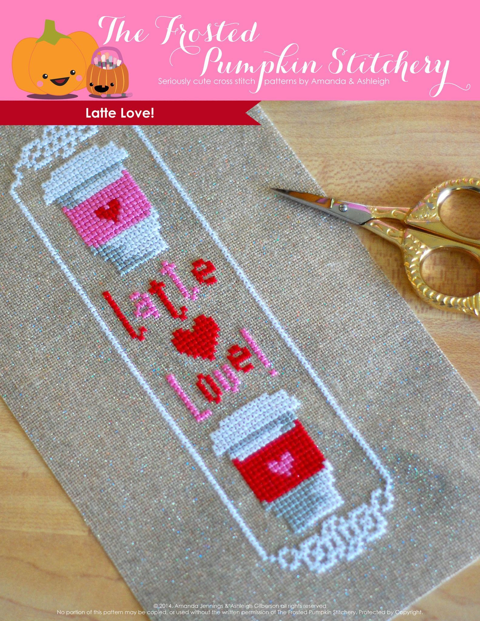 Latte love pdf cross stitch pattern point compté gourmand in