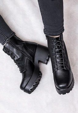 Shotgun Block Heel Cleated Sole Lace Up Platform Ankle Boots
