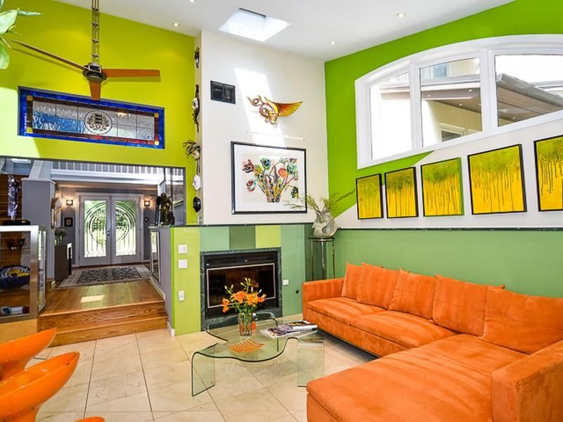 Bright Green Living Room with Orange Furniture | Home Styling ...