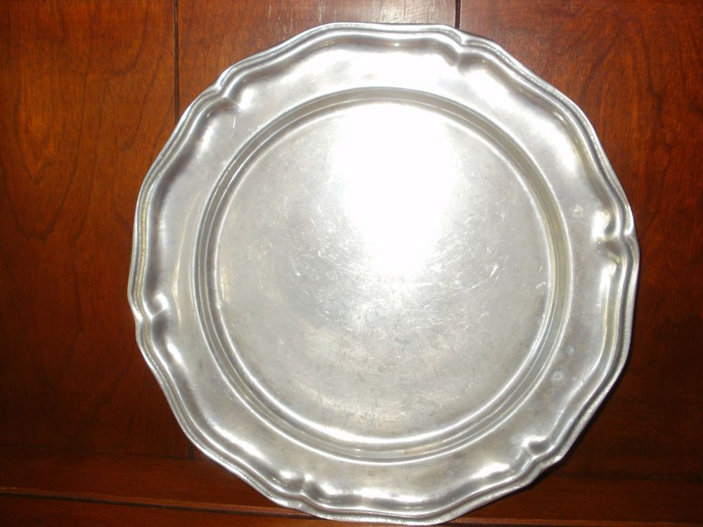 VINTAGE PEWTER/ WILTON DINNER PLATE 10 1/4  DIAM WAVY- : tin dinner plates - pezcame.com