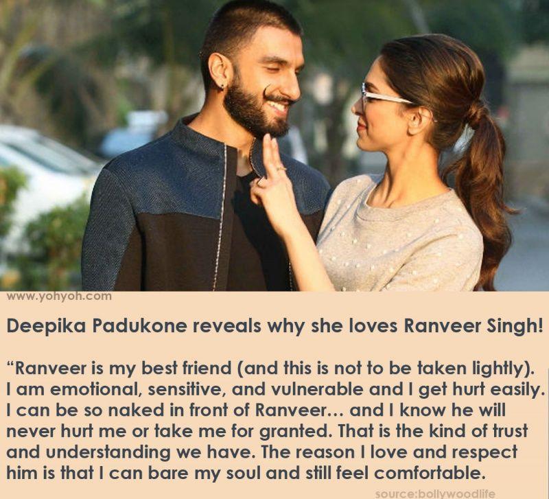 Deepika Padukone reveals why she loves Ranveer Singh ...