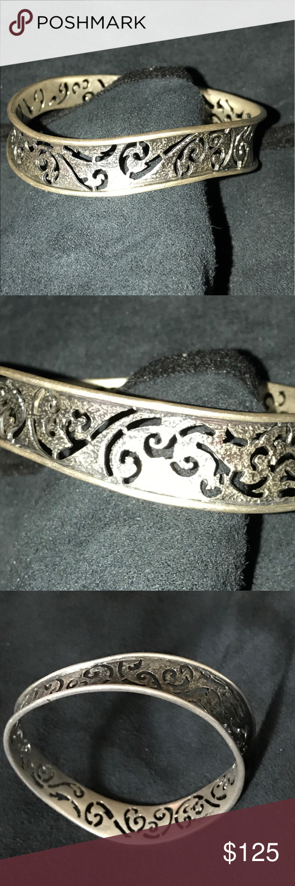 Silpada Sterling Silver Bracelet Silpada Sterling silver bracelet with mat finish inner oxidized with cut out designs trimmed in a polished silver.  Has a swirl round design that makes everyone say, WOW!!! Silpada Jewelry Bracelets