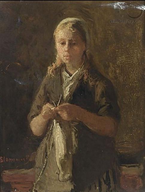 """""""Una muchacha tejiendo""""        -        """"A Girl Knitting"""" Bernardus Johannes  (Bermard) Blommers (1845 La Haya -1914 La Haya) Grabador y pintor holandés de la Escuela de La Haya"""