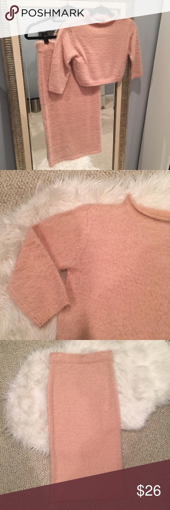Fuzzy Blush Pink 2 Piece Sweater Dress Set My Posh Picks
