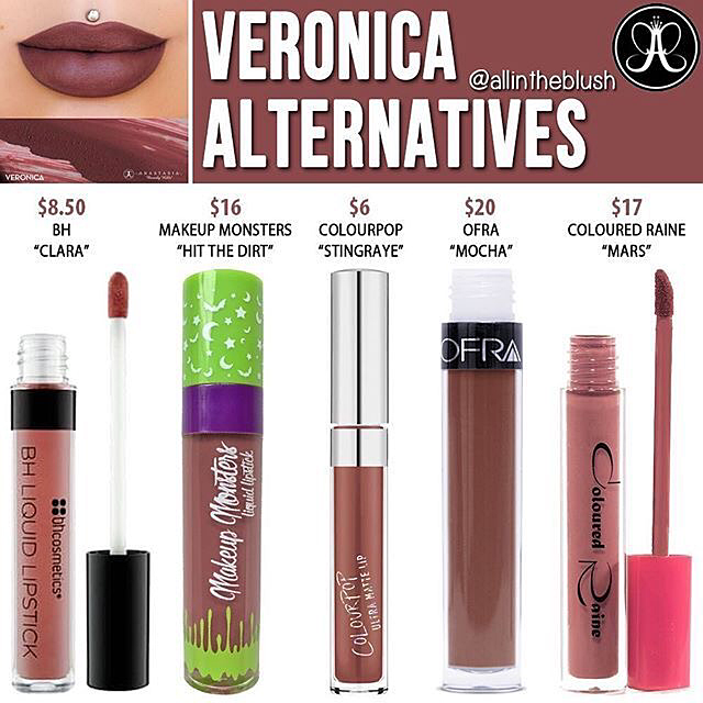Veronica Alternatives Lipstick dupes, Makeup, Makeup