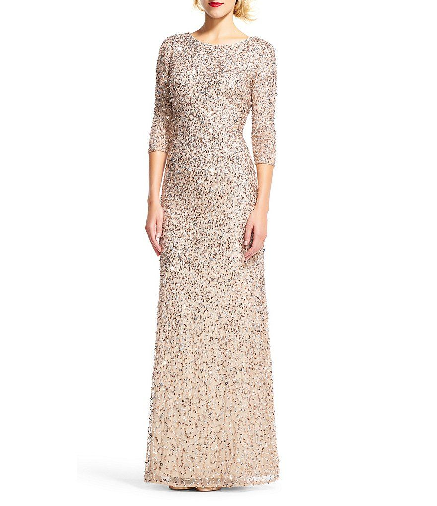 6c92505237e Shop for Adrianna Papell 3 4 Sleeve Sequin Beaded Column Gown at  Dillards.com. Visit Dillards.com to find clothing