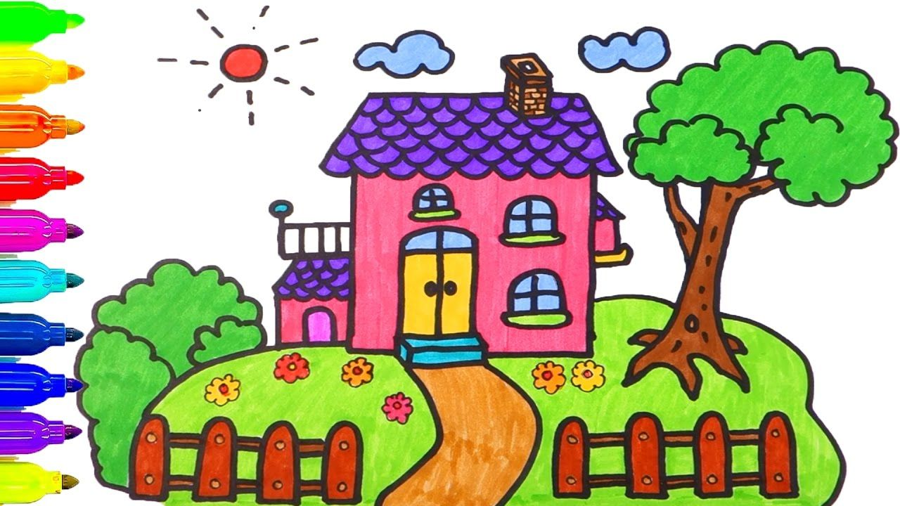 How To Draw House Coloring Pages Drawing For Children Learning Colors House Drawing For Kids Drawing For Kids Easy Drawings For Kids