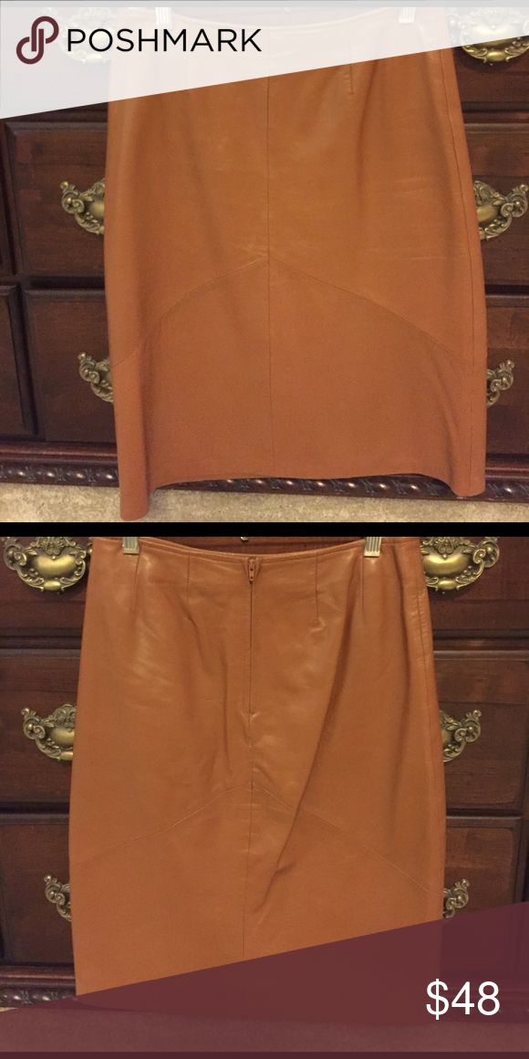 Caramel Leather Skirt Beautiful!  Like new!  Hits mid-knee!  100% Lamb Leather. Very soft. Versatile. Can be dressed up or down. Excellent condition! elements by vakko Skirts