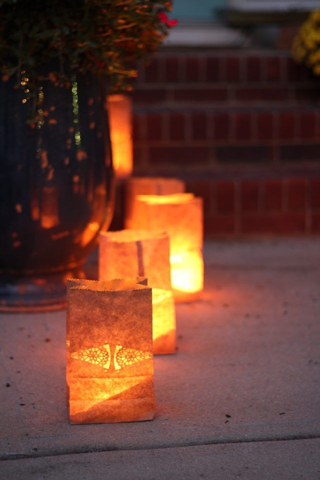 Safe paper bag luminaries are an easy way to add ambience to a gathering  and are perfect for holidays and special occasions. - How To Create Safe Paper Bag Luminaries Wedding :) Christmas