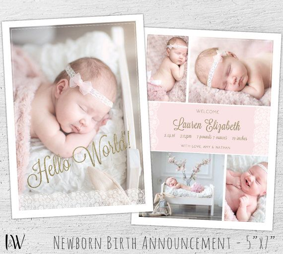 Newborn Announcement Template, Photoshop Template, New Baby Card