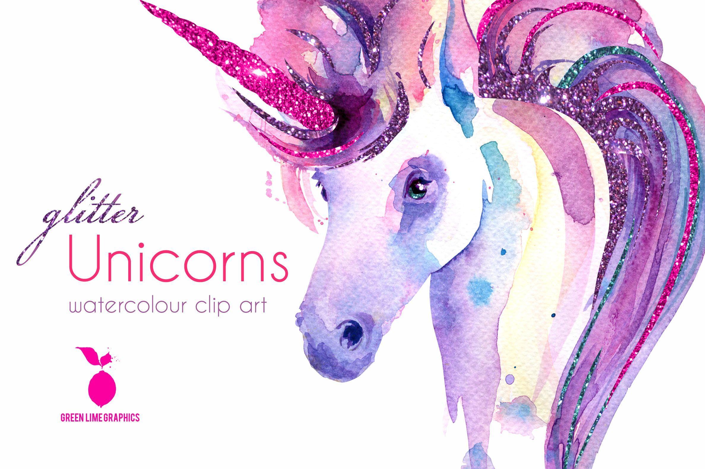 Watercolour Unicorn Clipart Glitter Unicorn Clipart Unicorn