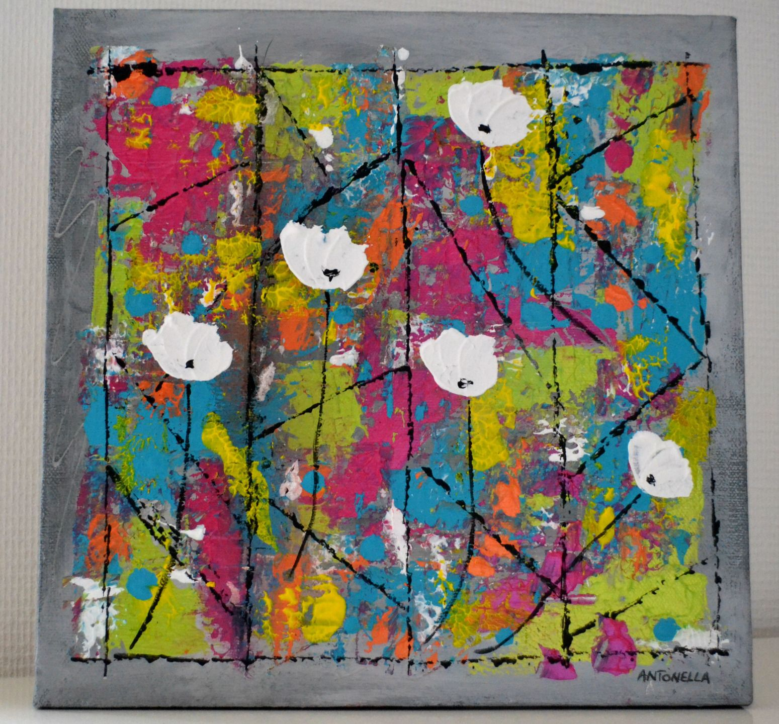 tableau abstrait fleurs abstraites
