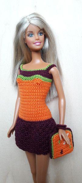 Puppenkleidung - Barbie/Steffi Kleid, orange/olivgrün/magenta - ein ...