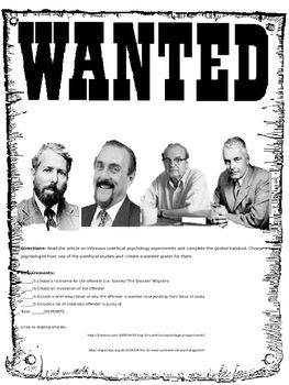 Psychology Unethical Experiment Wanted Poster write up