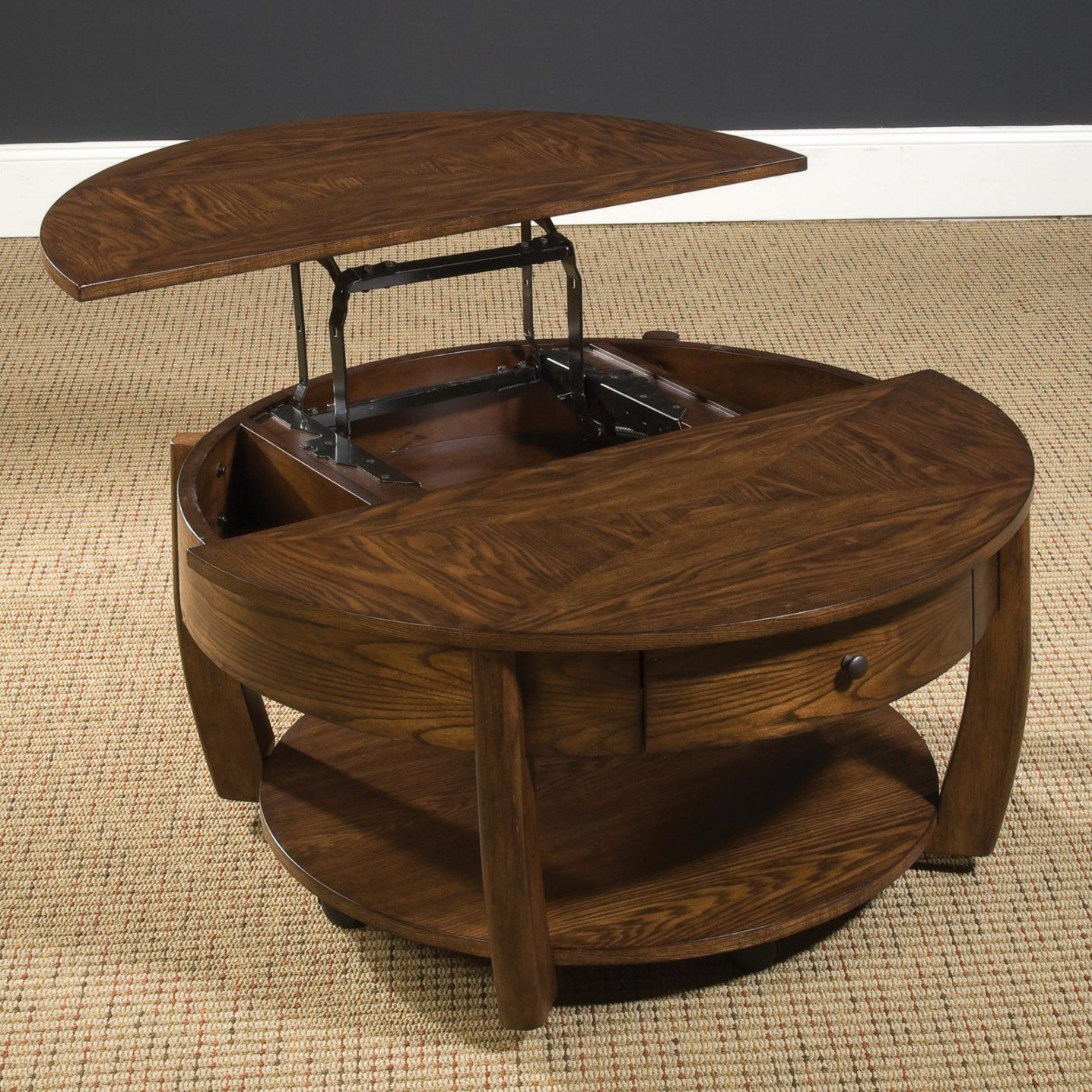 Hammary concierge round coffee table coffee table lift