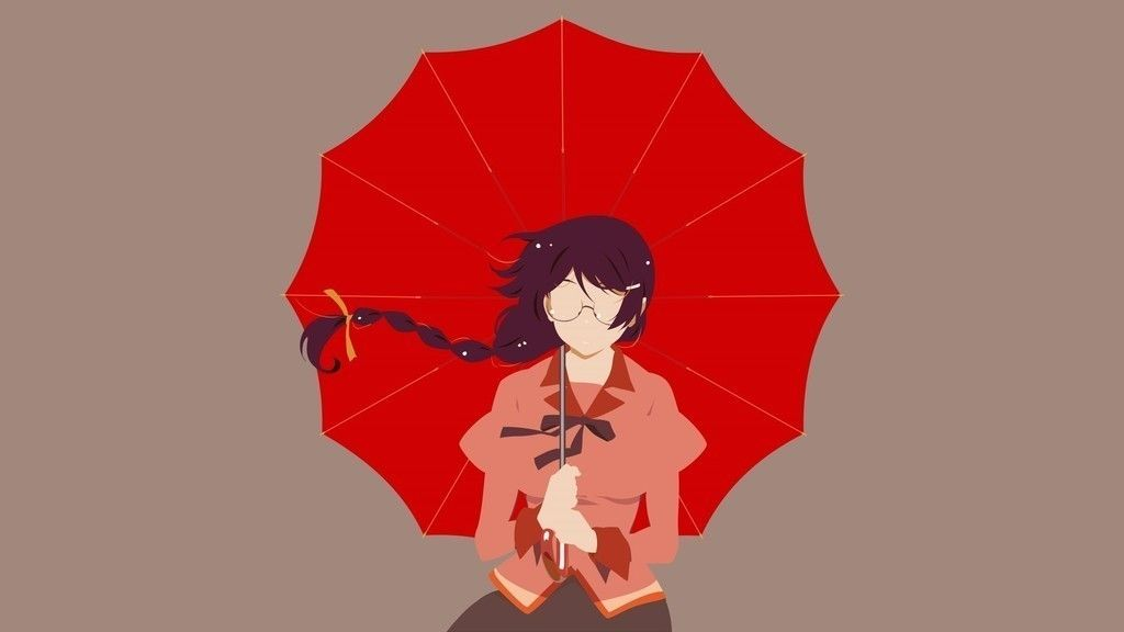 Tsubasa Hanekawa Bakemonogatari With Red Umbrella Anime Girl Wallpaper