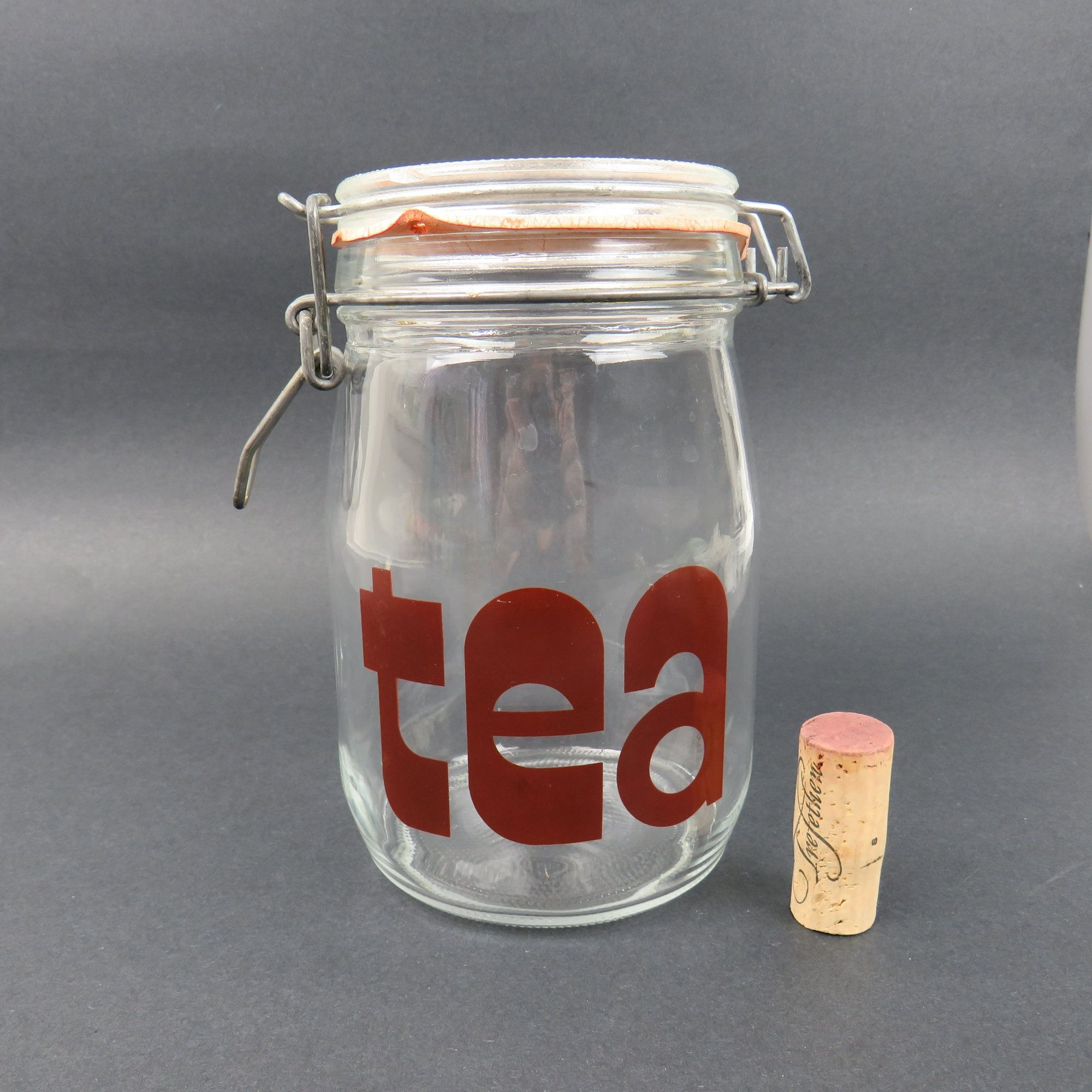 Vintage Typographic Tea Glass Canister Jar 1 Liter With Metal Wire Bale Flip Top Mason Jar Kitchen Storag Glass Canister Jars Mason Jar Kitchen Glass Canisters