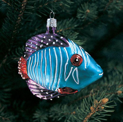 Tropical Fish Ornament Hand Blown Glass Christmas