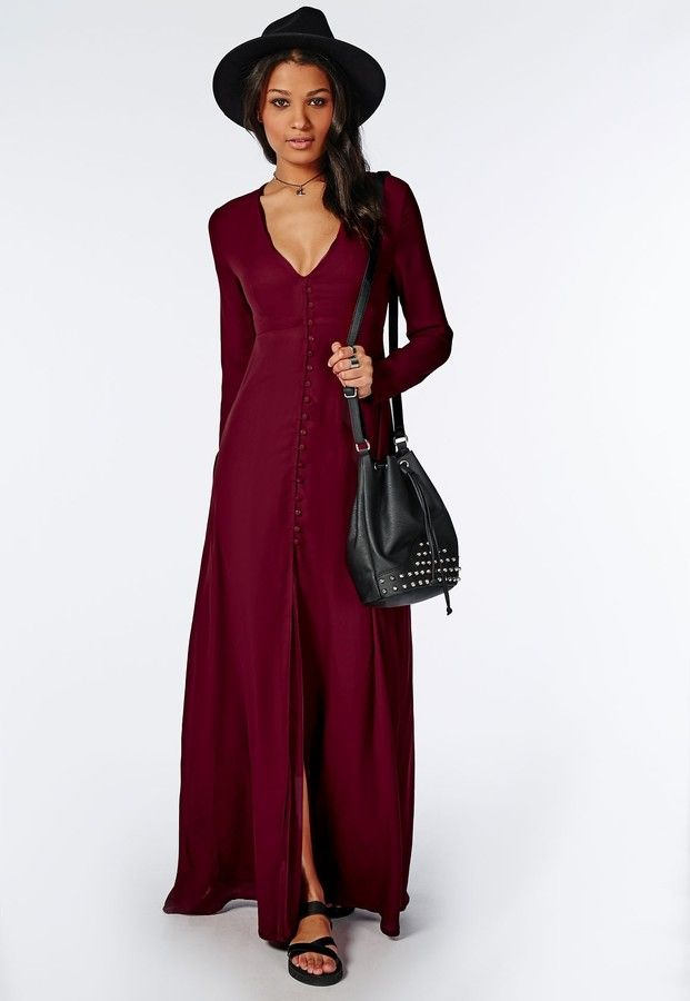 Effie Long Sleeve Maxi Dress Burgundy