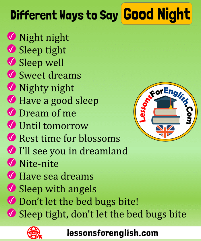15 Different Ways To Say Good Night In English Phrases Night Night Sleep Tight Sleep Well Sweet Good Vocabulary Words English Phrases English Vocabulary Words
