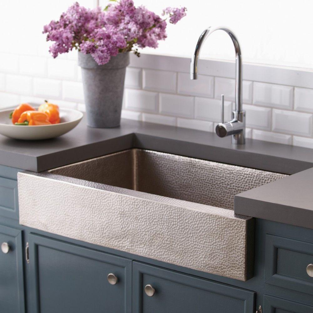 Hammered Stainless Steel Farmhouse Kitchen Sink | Kitchen ...
