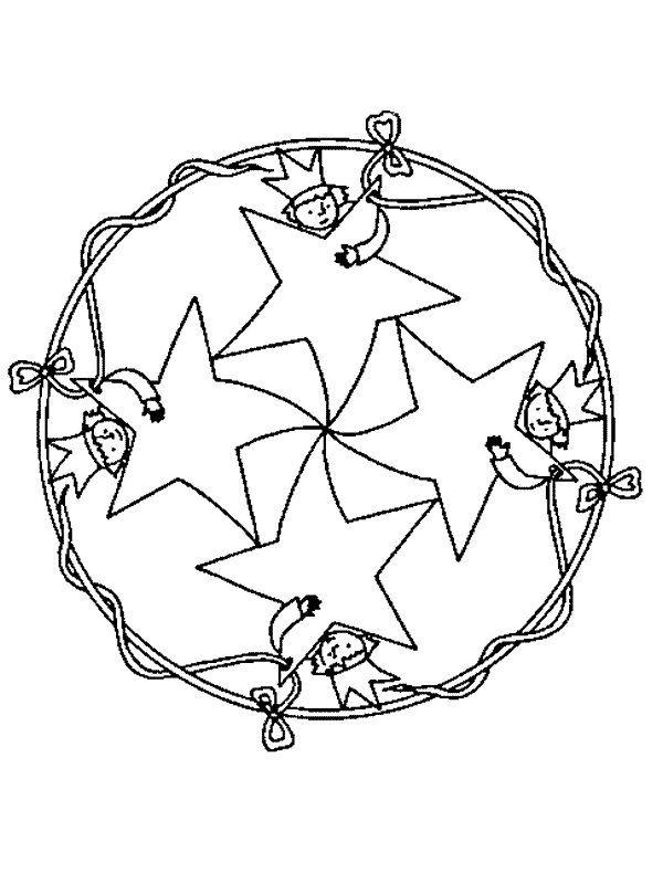 Kleurplaten Kerst Sterren.Kleurplaat Mandala Kerstmis Kerstmis Mandala Ster Zeemeerminnen