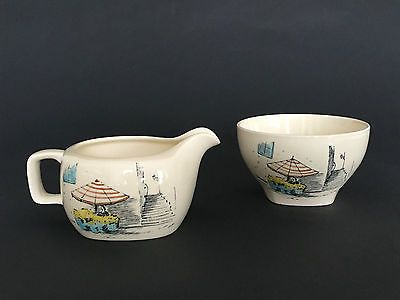 Vintage Midwinter 'RIVIERA' Sugar Bowl & Milk Jug Hugh Casson England c.1960s