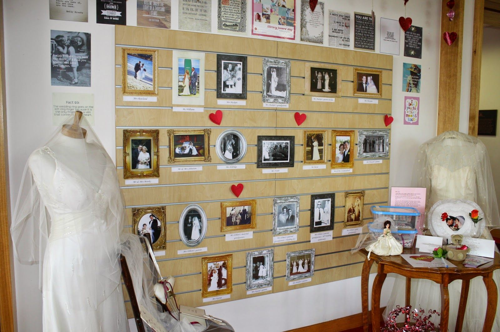 Valentine display pictures of married staff members and small story