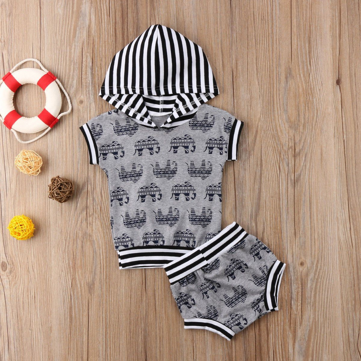 Elephant and Stripes Set Scarf casual, Matching family