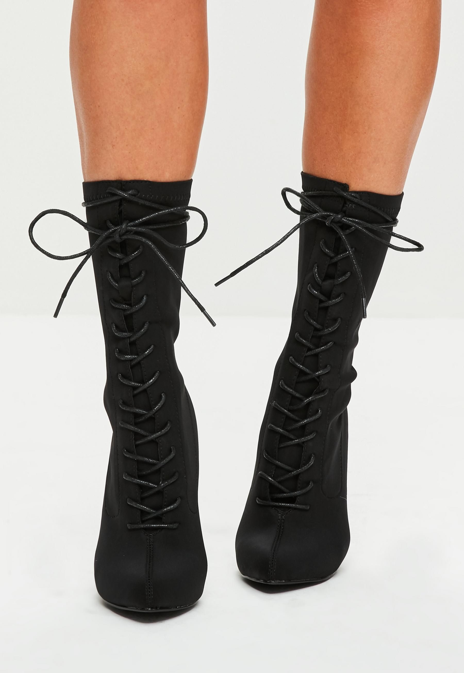 fb1dfdf4b25 Black Corset Lace Up Pointed Boots | Missguided | Shoe Heaven ...