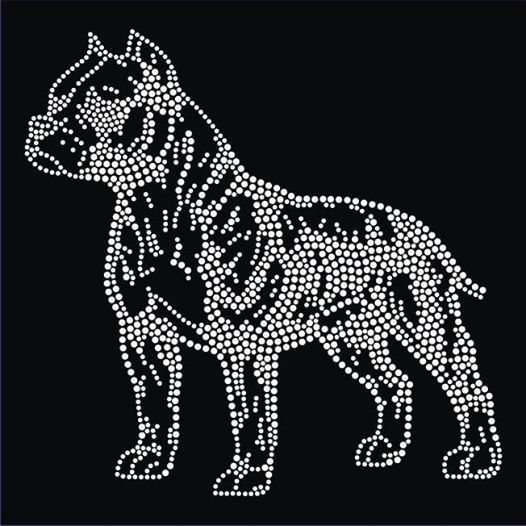 American pit bull terrier iron on rhinestone patch pet - Dessin de pitbull ...