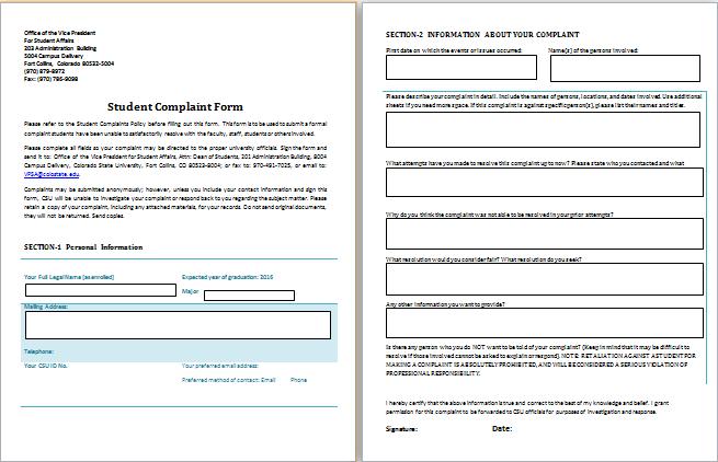 Student Complaint Form Template  Complaints    Template