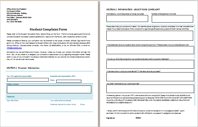 Student Complaint Form Template · Customer ComplaintsResume ExamplesResume  ...