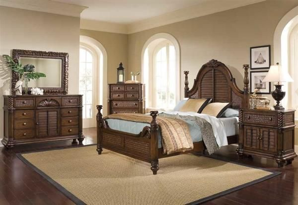 Palm Court II Tropical Coco Brown Wood Master Bedroom Set | Oceanica ...