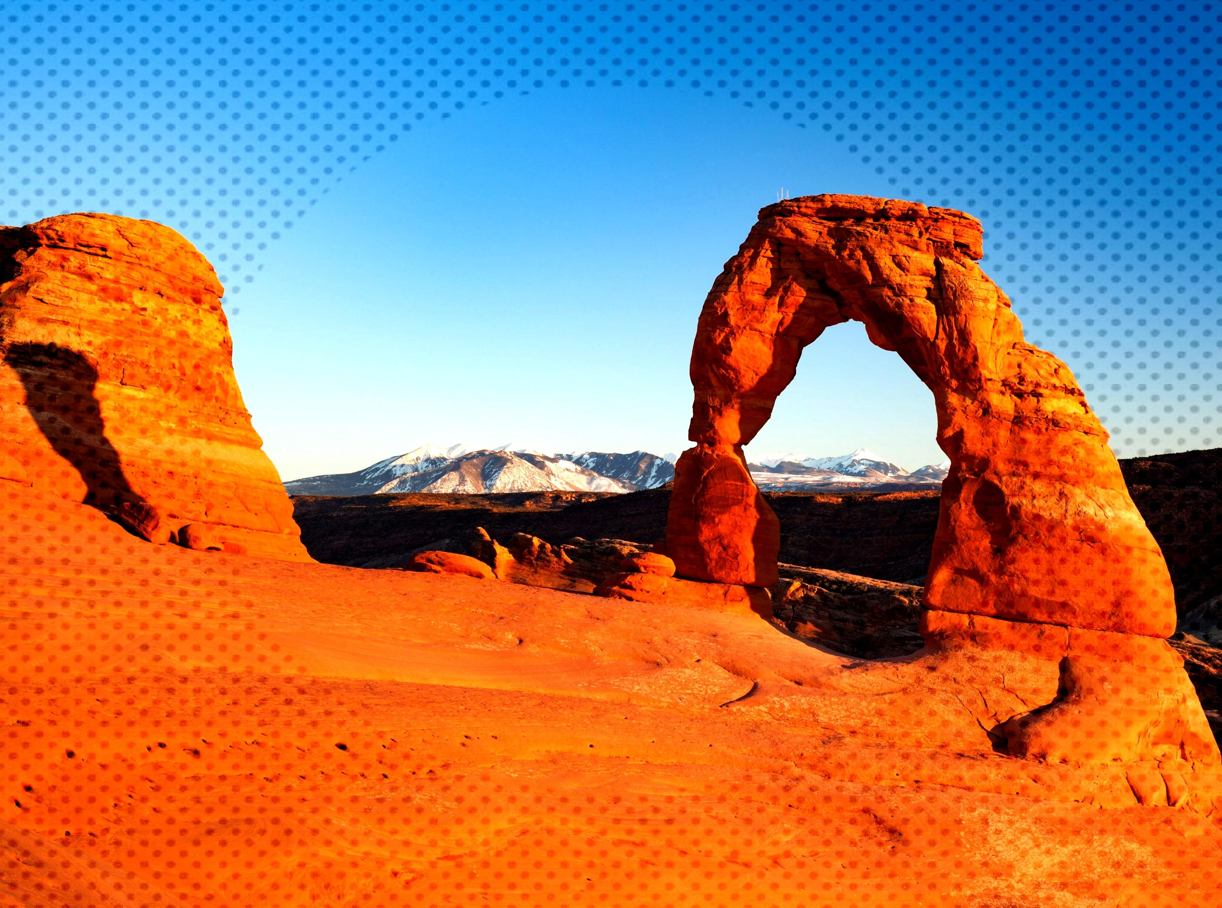 View of the Delicate Arch at Sunset United States