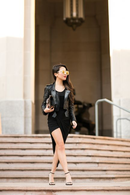 Dark as Night :: Asymmetric draped skirt & Cropped jacket